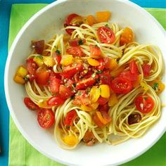 No-Cook Fresh Tomato Sauce Recipe -Try this sauce at times when you have a box of pasta or a store-bought pizza shell and need a sure-fire topping. Dinner is served. —Julianne Schnuck, Taste of Home Designer