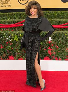 At Joan Collins (pictured) sparkled in sequins on the red carpet recently. Der Denver Clan, Dame Joan Collins, Celebrities Then And Now, Glamour, Classic Series, Sexy Older Women, British Actresses, London, Nyc