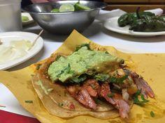 {Dinner Feb 28} More tacos in Tijuana, at Tacos El Frances. Handmade maiz tortillas with adobada and guacamole. Feeling high
