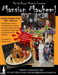 An eerie afternoon making edible haunted houses, spooky crafts, plus a chilling tour! October 27. Spaces going fast!