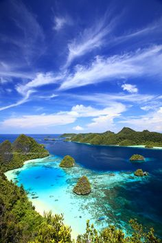 Papua Indonesia · Raja Ampat · Landscape · Seascape · Skyscape · Nature · Water · Trees · Travel · Tourist Information · Blue · Sky Places Around The World, The Places Youll Go, Travel Around The World, Places To See, Around The Worlds, Dream Vacations, Vacation Spots, Beautiful World, Beautiful Places