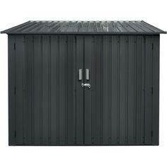 Hanover Galvanized Steel Bicycle Storage Shed With Sliding Bolt Lock For Up To 4 Bikes, Dark Gray Hanbikeshd-Gry Bicycle Storage Shed, Patio Storage, Shed Storage, Outdoor Bike Storage, Storage Sheds For Sale, Garage Storage, Bolt Lock, Modern Shed
