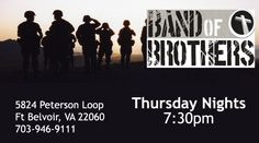 The WCC Men's group Band of brothers meets each Thursday night at 7:30 on Ft. Belvoir. Call the church office at 7030780-1112 for more info.