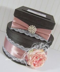 Wedding Card Box Silk Card Holder Lace by LaceyClaireDesigns, $105.00