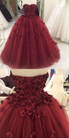 maroon quinceanera dress, burgundy strapless prom dress, flower ball gowns