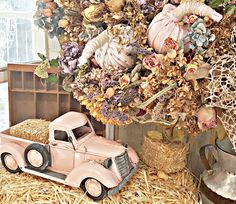 Penny's Vintage Home: Fall Wreath and a Pink Pickup Truck