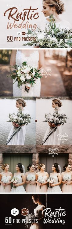50 Rustic Wedding Presets for Lightroom & ACR — LRTemplate #bridal #portrait lightroom • Download ➝ https://graphicriver.net/item/50-rustic-wedding-presets-for-lightroom-acr/20043398?ref=pxcr