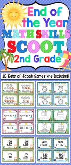 End of the Year Math Skills Scoot Bundle: 2nd Grade - Your class will have a blast reviewing 2nd grade Common Core math skills. This pack of 10 math Scoot games will keep your students engaged and motivated as you review key 2nd grade math skills. $
