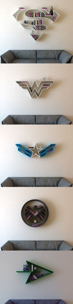 Superman, Wonder Woman, Captain America, SHIELD, Green Arrow Bookshelf
