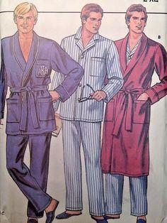Vintage Uncut Butterick 3037 Sew Pattern Classic Men's Pajamas Robe L-XL 42-48