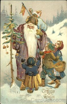 Santa with purple robe, three children trying to grab his bag of toys Christmas Greeting