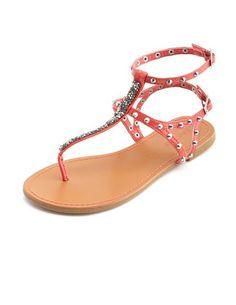 Glitter T-Strap Studded Flat Sandal: Charlotte Russe