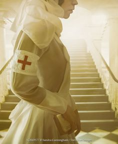 Sandra Cunningham Side profile of a WW2 nurse with stairway in background