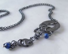 Motley Sterling Silver Lapis Lazuli Pendant Rustic by aroluna, $84.00