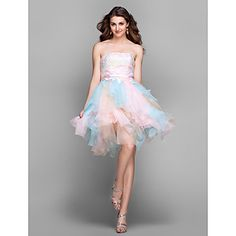 Cocktail Party / Prom / Holiday Dress - Multi-color Plus Sizes / Petite A-line Strapless Knee-length Lace / Tulle – USD $ 69.99
