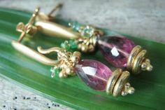 Gold Tourmaline Emerald Earrings by $96 #AlisonStorryJewelry #artisanjewelry