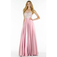 Alyce 6722 Prom Long Dress Long Strapless Sleeveless ($378) ❤ liked on Polyvore featuring dresses, gowns, formal dresses, petal pink, long formal dresses, long lace gown, long lace dress, white formal dresses and lace formal gown