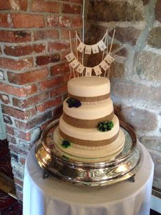 3 Tier Wedding Cake. A fantastic Natural choice of Hessian/Lace for the detail.. This complemented the setting beautifully.