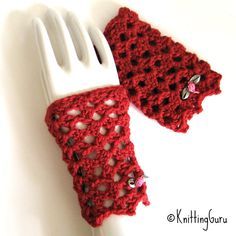 Hands cold? These romantic red Merino lace gloves will warm you up!