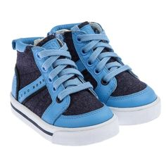 9f184884889fe BOSS Boys Blue Oxford High Top Trainers