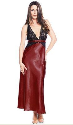 Nightgown - Satin Charmeuse w Stretch Lace Bodice (Small-1X 8adba8f72