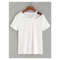 White Asymmetric Cutout Neck T-shirt ($6.99) ❤ liked on Polyvore featuring tops and t-shirts