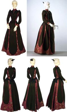 ~Day dress, Worth, ca. 1889~   Dark green wool and red-ground silk brocade. Bodice panelled with satin and edged with black moiré ribbon. Collar & cuffs faced with gold beaded tulle. Skirt has slightly draped front & flared back, with pleats. Mounted over green silk petticoat, boned & taped to bustle in back. Dress fastens at shoulder over boned green silk bodice lining.