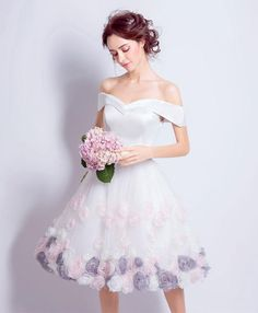 2018 cute white tulle off shoulder prom dress, short prom dress for teens #promdress #prom #dress