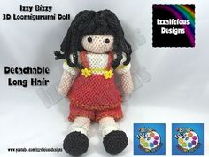 Loomigurumi Izzy Bizzy Doll - Hair Extensions - crochet hook only using Rainbow Loom Bands - YouTube