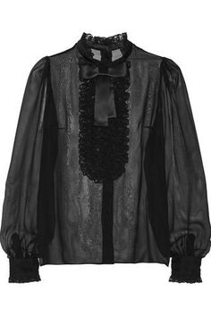 Appliquéd silk-blend chiffon blouse #chiffonblouse #women #covetme #dolce&gabbana