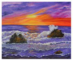 Original Oil Painting, Purple Mist, Ocean Seascape, Impressionism