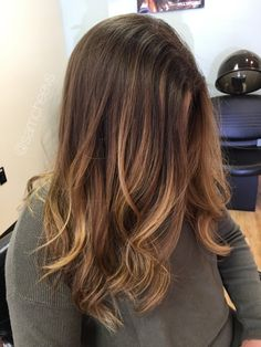 Ombre for brown hair . Brown roots and honey blonde ends. Balayage for dark hair