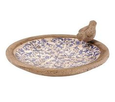 bird bath, vintage plate and hypertufa?