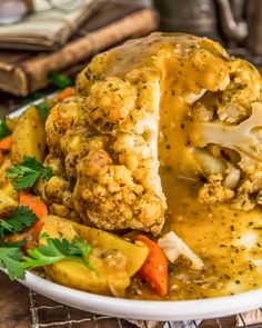 Easy, healthy, and delicious, this oil-free Instant Pot Thanksgiving Cauliflower boasts a luscious harvest infused gravy and makes holiday cooking a breeze. #wholefoodplantbased #vegan #oilfree #glutenfree #plantbased | monkeyandmekitchenadventures.com Instant Pot, Dinner For 2, Veggie Dinner, Vegetarian Recipes, Healthy Recipes, Gf Recipes, Side Recipes, Vegan Thanksgiving, Vegan Christmas