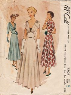 This vintage McCall sewing pattern was designed in 1949. It makes an elegant evening dress in two lengths Size 16: Bust 34 --- Waist 28 --- Hip 37. It has been neatly used and is complete including instructions. It was used for the full length version so all views are possible. To see more vintage dress patterns: https://www.etsy.com/shop/studioGpatterns?ref=hdr_shop_menu&section_id=6940891 To visit my shop: https://www.etsy.com/shop&...