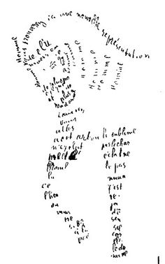 Guillaume Apollinaire - horse calligram. could make with feet/hands