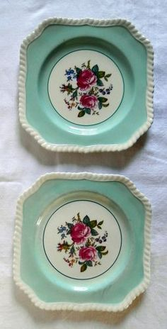"Johnson Bros ""Old English"" China Plates Lot 2 Aqua & Beautiful"