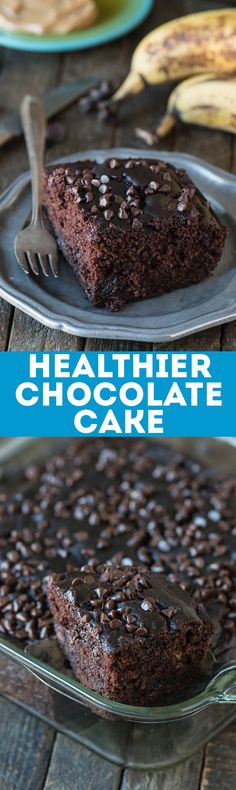 This healthier chocolate cake tastes like a double chocolate chip banana muffin! No sugar, butter or oil but uses bananas, greek yogurt and honey instead! (Chocolate Butter Cake)