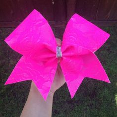 Hey, I found this really awesome Etsy listing at https://www.etsy.com/listing/200045223/neon-pink-lace-cheer-bow