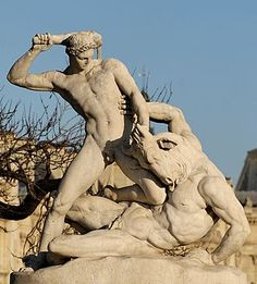 Theseus fighting the Minotaur by Jean-Etienne Ramey, marble, 1826, Tuileries Gardens, Paris