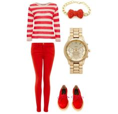Red outfit with a bracelet and a watch :)