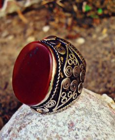 RARE ethnic middle eastern RED aqeeq stone Ring by ZamarutJewel