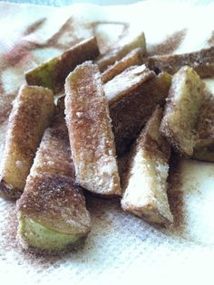 Cinnamon Apple Fries - could use pumpkin dip or marshmallow whip cream or salted caramel dipping sauce.