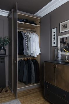 Ikea Pax wardrobe and DIY West Elm bedside tables - designsixtynine Ikea Wardrobe Hack, Ikea Closet Hack, Oak Wardrobe, Closet Hacks, Wardrobe Makeover, Closet Bedroom, Bedroom Decor, Bedroom Ideas, Master Bedroom