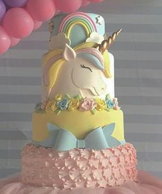 Unicorn Baby Shower Gorgeous Unicorn Cake, Just so divine and pretty. Perfect for a Unicorn Baby Shower Unicorne Cake, Cake Art, Eat Cake, Rainbow Unicorn Party, Unicorn Birthday Parties, Girl Birthday, Girly Birthday Cakes, Birthday Sweets, Birthday Nails