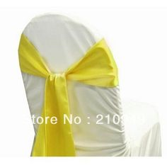 FREE SHIPPING 100 pcs yellow wedding chair sash chair cover band satin chair sashes