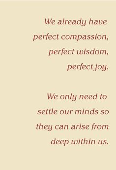 Insight Meditation quote:  We already have perfect compassion,  perfect wisdom, perfect joy.  We only need to settle our minds so they can arise from deep within us.