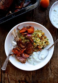 inspired from my trip to Istanbul this Turkish lamb uses dried sweet apricots. pistacios and an interesting mix of Turkish spices served with yogurt and rice pilafs