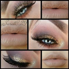 Neutral makeup with gold glitter.  I LOVE this.