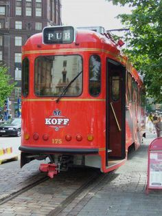 Koff pub tram in Helsinki. Drink some beer or wine and relax your feet while sightseeing. Visit Helsinki, Tramway, Finland Travel, Travel Icon, Light Rail, Capital City, Homeland, Night Life, Transportation